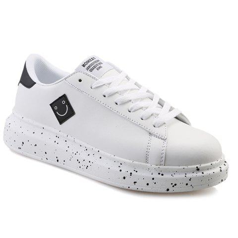 Fashionable Color Block and Smiling Face Design Men's Casual Shoes - WHITE/BLACK 44