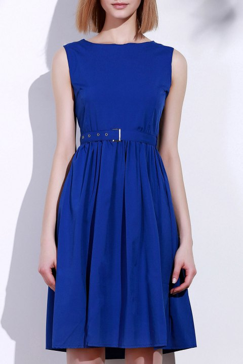 Women's Retro Style Sleeveless Solid Color Dress - BLUE L