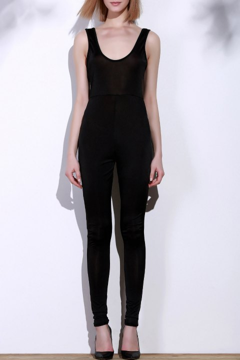Sexy Scoop Neck Solid Color Skinny Sleeveless Women's Jumpsuit - BLACK S