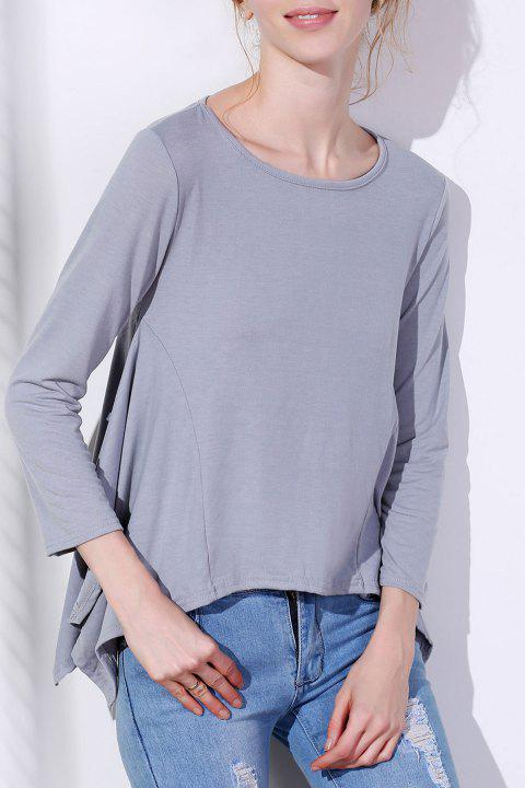 Charming Scoop Neck Solid Color Asymmetric T-Shirt For Women - GRAY XL