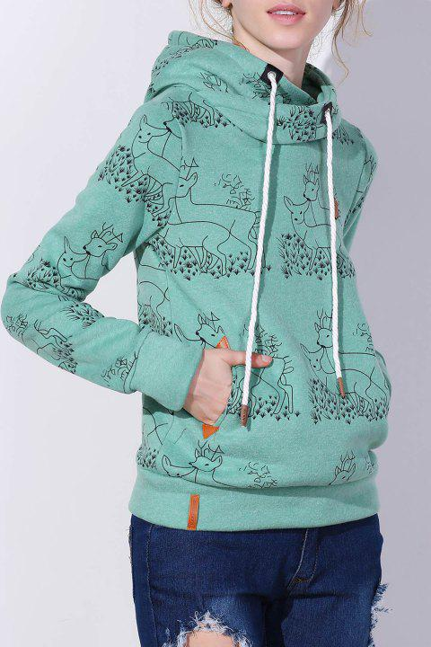 Stylish Long Sleeve Hooded Deer Print Women's Hoodie - GREEN M