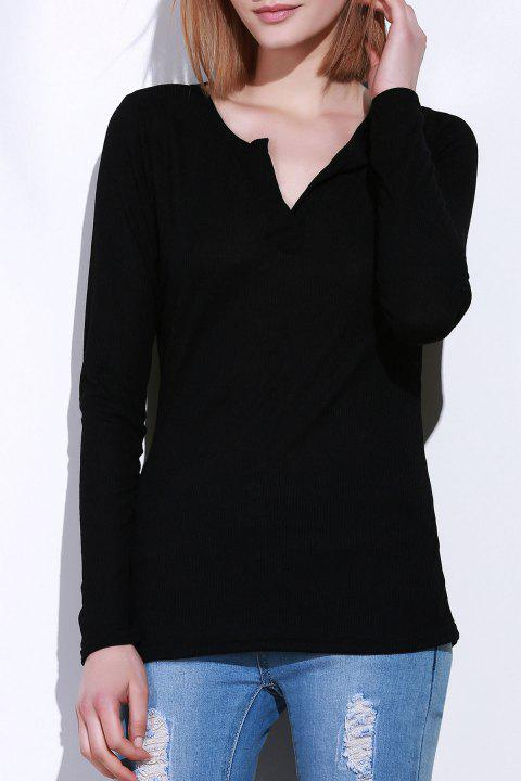 Casual V-Neck Long Sleeve Pure Color Women's T-Shirt - BLACK S