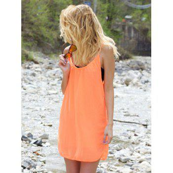 Stylish Women's Strappy Hollow Out Racerback Chiffon Dress - M M