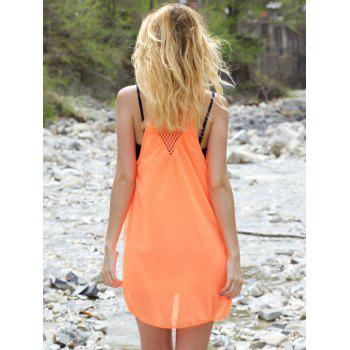 Stylish Women's Strappy Hollow Out Racerback Chiffon Dress - L L