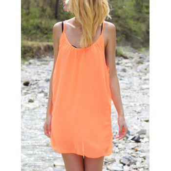 Stylish Women's Strappy Hollow Out Racerback Chiffon Dress