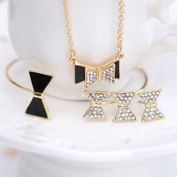 Bowknot Shape Rhinestoned Jewelry Set (Necklace Bracelet and Earrings) - COLORMIX