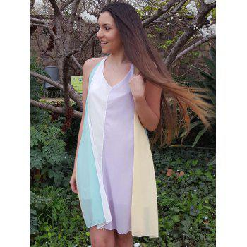 Stylish Spaghetti Strap Chiffon Color Block Women's Dress - COLORMIX M