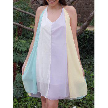 Stylish Spaghetti Strap Chiffon Color Block Women's Dress - COLORMIX XL