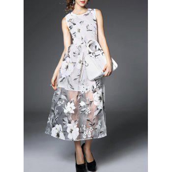 Chic Voile Spliced Sleeveless Jewel Neck Flower Dress For Women