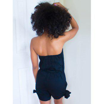 Sexy Pure Color Bowknot Elastic Waist Strapless Romper For Women - BLACK L