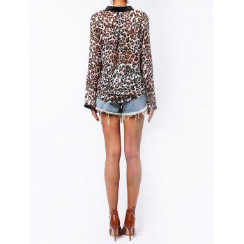 Loose Long Sleeve Stand-Up Collar Leopard Print Single-Breasted Shirt - LEOPARD S