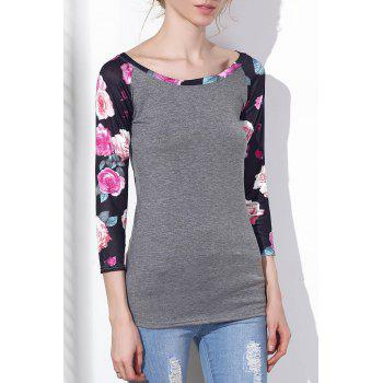Trendy Floral Printed 3/4 Sleeve Baseball T-Shirt For Women