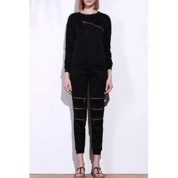 Stylish Black Skew Zippered Sweatshirt+Drawstring Jogging Pants Twinset For Women