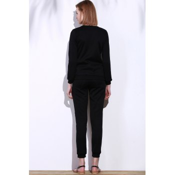 Stylish Black Skew Zippered Sweatshirt+Drawstring Jogging Pants Twinset For Women - BLACK XL