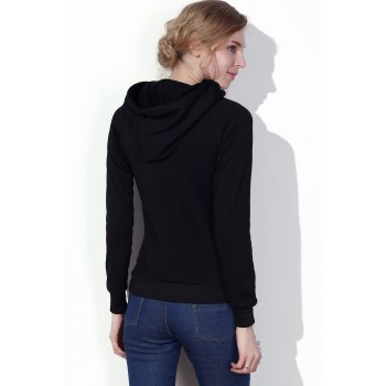 Stylish Hooded Long Sleeve Solid Color Drawstring Women's Hoodie - BLACK S