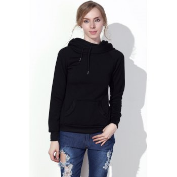 Stylish Hooded Long Sleeve Solid Color Drawstring Women's Hoodie - BLACK M