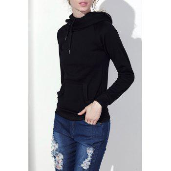 Stylish Hooded Long Sleeve Solid Color Drawstring Women's Hoodie