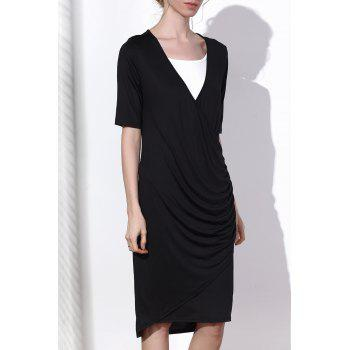 Attractive Black V-Neck Half Sleeve Side Zippered Bodycon Dress For Women