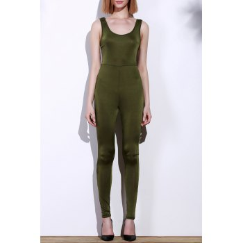 Sexy Scoop Neck Solid Color Skinny Sleeveless Women's Jumpsuit