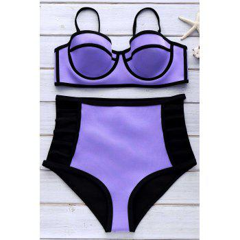 Sexy Spaghetti Strap Hollow Out High Waist Women's Bikini Set - PURPLE L
