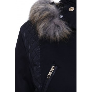 Faux Fur Hooded Long Sleeve PU Splicing Thick Coat For Women - BLACK M