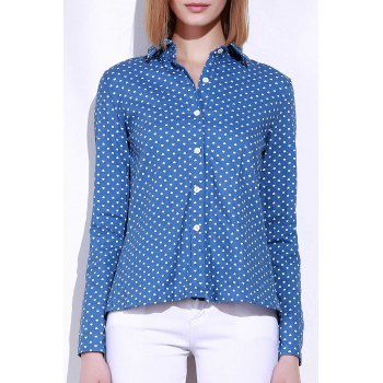 Stylish Stand-Up Collar Long Sleeve Slit Polka Dot Women's Shirt