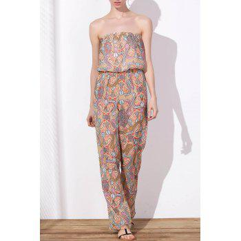 Stylish Printed Strapless Waist Self-Tie Loose Chiffon Jumpsuit For Women