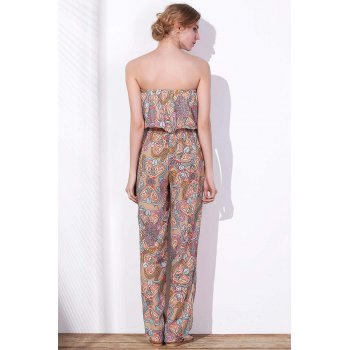 Stylish Printed Strapless Waist Self-Tie Loose Chiffon Jumpsuit For Women - COLORMIX 3XL