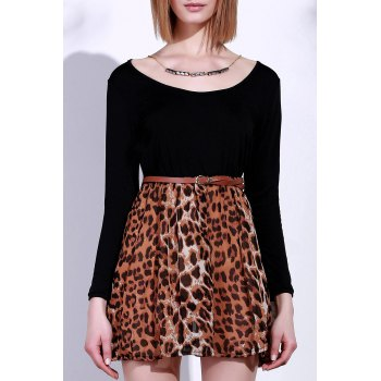 Stylish Women's Scoop Neck Long Sleeve Leopard Print A-Line Dress