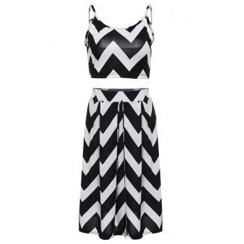 Stylish Spaghetti Strap Tank Top + Wave Print High-Waisted Skirt Women's Twinset - WHITE AND BLACK WHITE/BLACK
