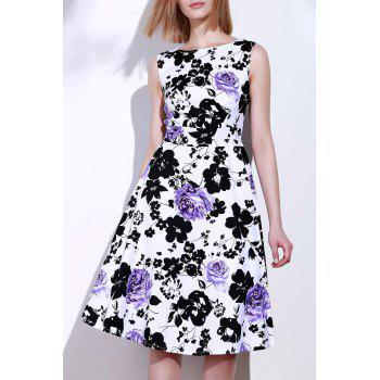 Round Neck Sleeveless Floral Print Women's Vintage Tea Dress
