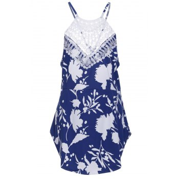 Chic Round Collar Sleeveless Backless Floral Print Women's Dress - BLUE AND WHITE L
