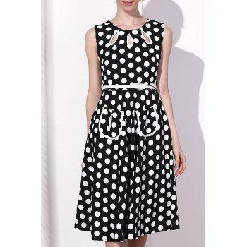 Vintage Polka Dot Print Round Collar Sleeveless Dress For Women