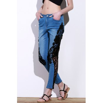 Stylish Mid-Waisted See-Through Lace Embellished Women's Jeans - BLUE/BLACK S