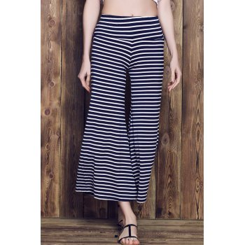 Stylish Elastic Waist Striped Wide Leg Loose-Fitting Women's Pants