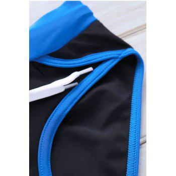 Color Block Sexy Lace-Up Men's Briefs Swimming Trunks - BLACK BLACK