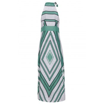 Fashionable Round Collar Paisely Print Sleeveless Women's Maxi Dress - GREEN GREEN