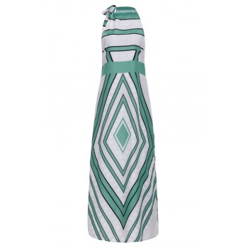 Fashionable Round Collar Paisely Print Sleeveless Women's Maxi Dress