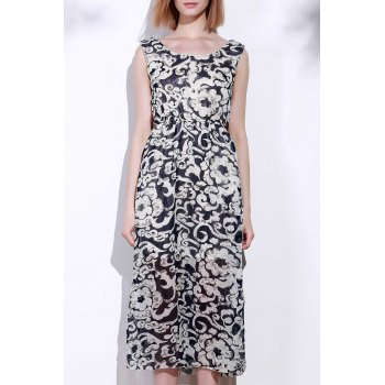 Attractive Sleeveless Printed Porcelain Maxi Dress For Women