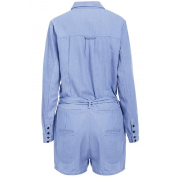 Stylish Long Sleeve Turn-Down Collar Self-Tie Solid Color Women's Romper - DEEP BLUE L