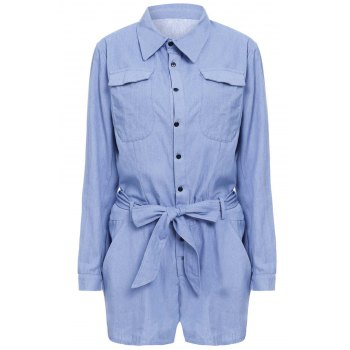 Stylish Long Sleeve Turn-Down Collar Self-Tie Solid Color Women's Romper