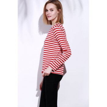 Casual Round Collar Stripes Print Long Sleeve Women's T-Shirt - RED S