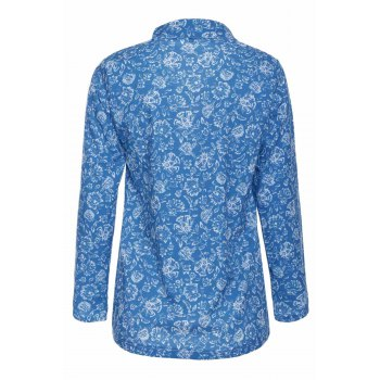 Stylish Turn-Down Collar Long Sleeve Hollow Out Printed Women's Blouse - COLORMIX S