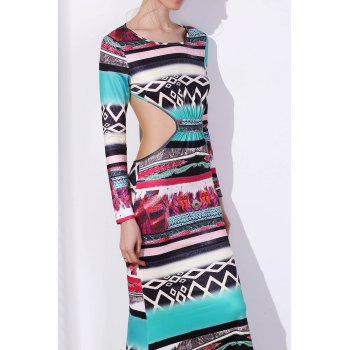 Bohemian Round Neck Long Sleeve Cut Out Printed Women's Dress - COLORMIX S
