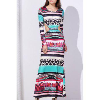 Bohemian Round Neck Long Sleeve Cut Out Printed Women's Dress