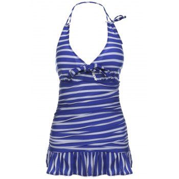 Navy Style Halter Neck Striped Color Matching Bowtie Embellished Ruffled Women's Swimwear
