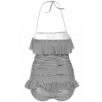 Women's Charming Stripe Ruffles Backless One Piece Swimsuit - L L