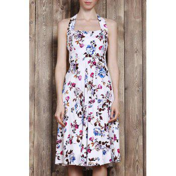 Retro Style Flower Print Halter Sleeveless Vintage Tea Dress For Women