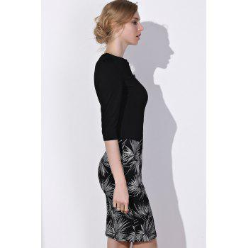 OL Style 3/4 Sleeve Round Neck Faux Twinset Printed Women's Dress - BLACK S