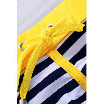 Lace Up Sexy Stripe Color Block Sports Style Men's Swimming Trunks - YELLOW YELLOW